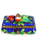 Christmas chest Limoges box with birds and flowers