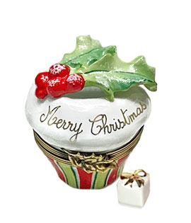 Limoges box cupcake with holly and gift