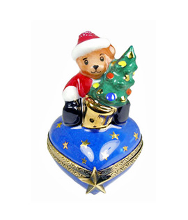 Limoges box Teddy on small heart with tree - First Christmas