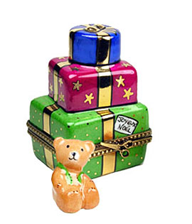 Limoges boxstack of gifts with teddy