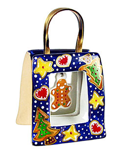 Christmas cookies bag Limoges box with dangling gingerbread man