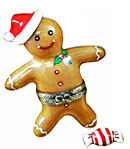 limoges box gingerbread man with santa hat and mint