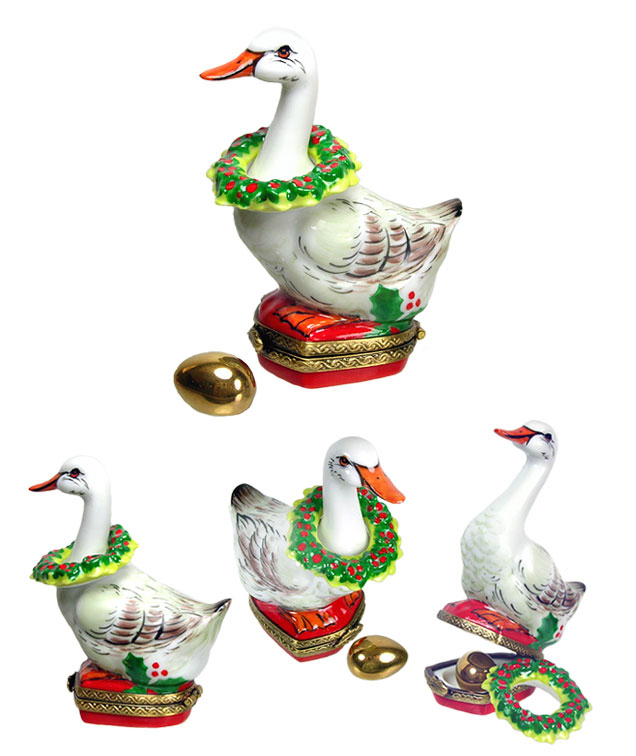 christmas goose limoges box with wreath and gold egg