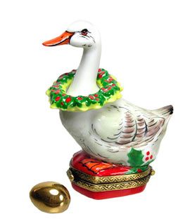 Christmas goose with wreath and gold egg