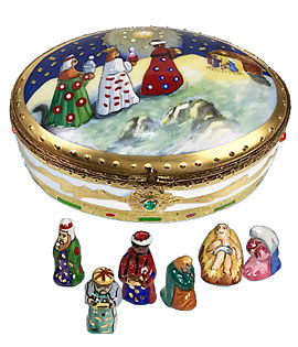 Magi bringing gifts Limoges box with Nativity figures