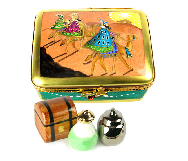 Three Magi on camels Limoges box with porcelain gifts - gold, frankinsense, Myrrh