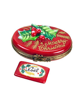 Classic Merry Christmas Limoges box with Noel card