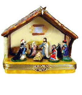 Nativity manger Limoges box with figures