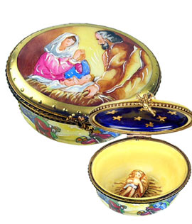 Limoges box Nativity on oval with removable baby Jesus