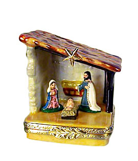 small Nativity Limoges box with Jesus, Mary and Joseph