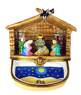 Limoges box Christmas Nativity manger with star above