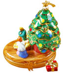 Rochard Limoges box nativity under tree with gift
