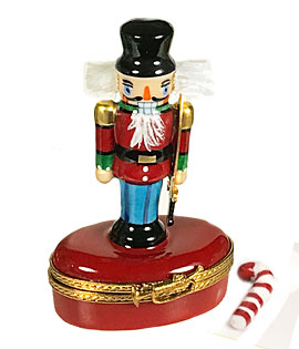 Nutcracker Limoges box with bristly hair and candy cane