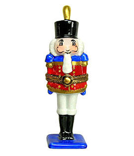nutcracker with plume on blue base Limoges box