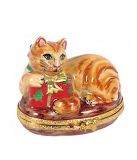 Artoria Limoges box orange cat with Christmas gift