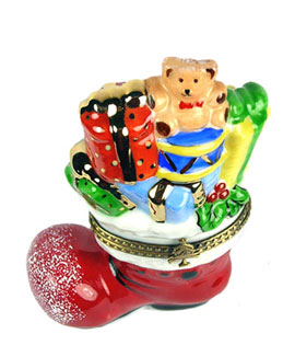 Santa's boot with toys Limoges box