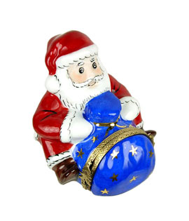 Limoges box Santa with blue sack, dimensional objects inside