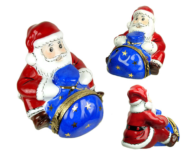 Limoges box Santa with blue sack and presnets