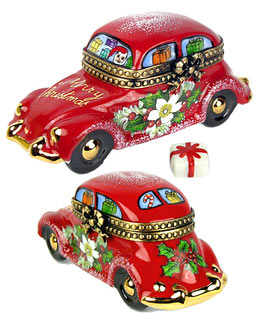 Santa's red car with decor and gift