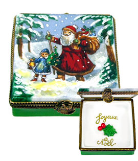 Santa walking child home in the snow Limoges box