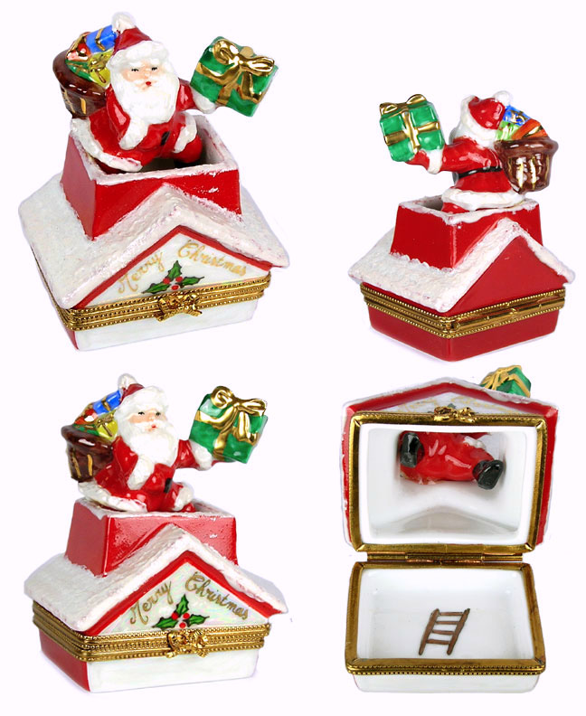 Santa going down chimney with presents Limoges box