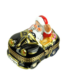 Santa in black convertable Limoges box