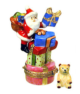 Santa with pile of gifts and Teddy Limoges box