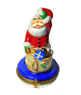 Limoges box Santa cooling his brow with hat off