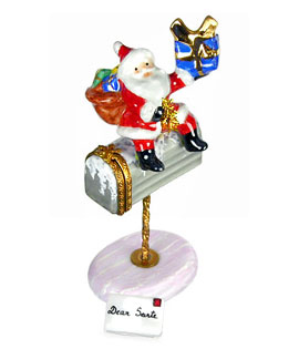 Santa atop mailbox Limoges box with letter