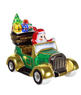 Limoges box Santa with gifts in Model T car