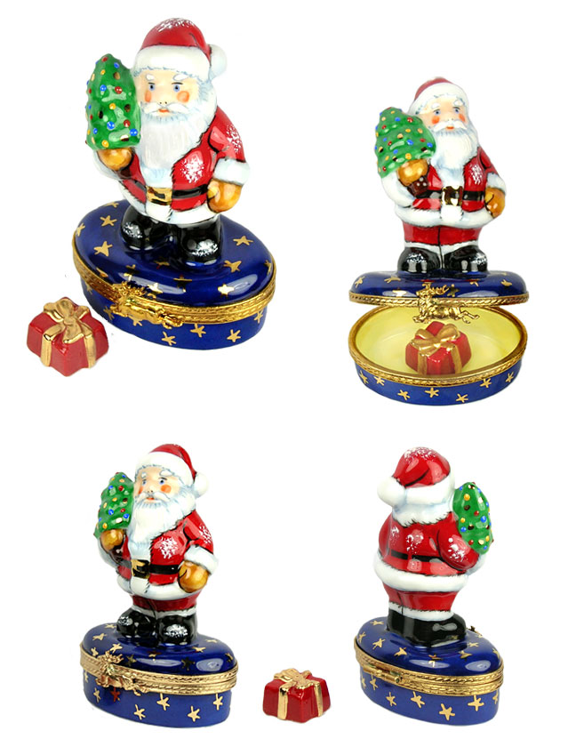Santa holding Christmas tree Limoges box with gift inside