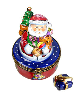 Limogs box Santa with toys and removable gift