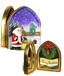 Santa in arched window Limogs box
