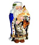 Santa in blue robe with animals Rochard limoges box