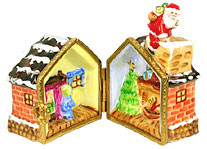 Santa on rooftop of house with interior scenes
