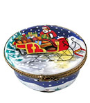 Rochard Classic oval limoges box winter scene with Christmas tree inside