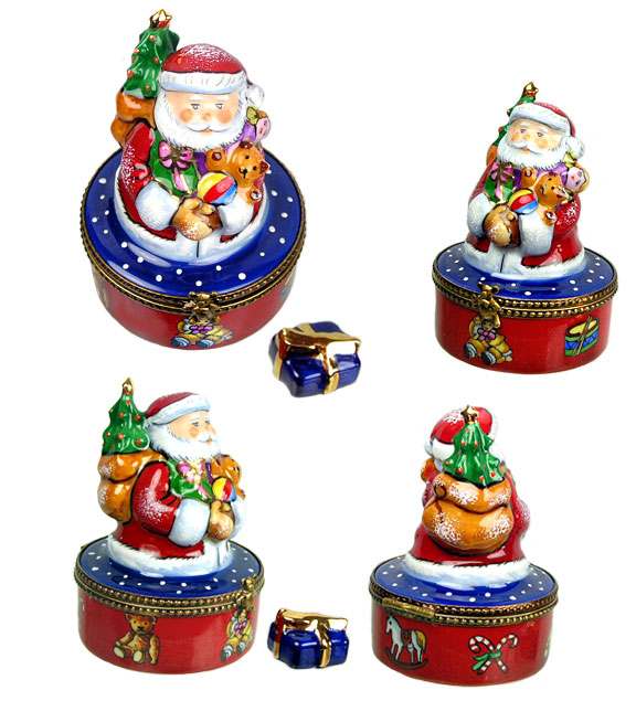 santa with gifts limoges box