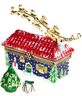 Limoges box rancher house with metal Santa sleigh