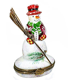 Limoges box snowman with wire broom