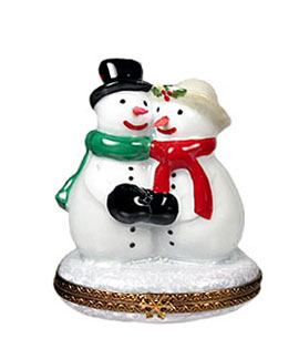 limoges box snowman couple with scarves and hats