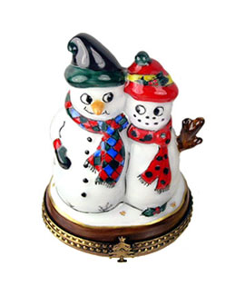 Limoges box snowman couple with caps and mufflers