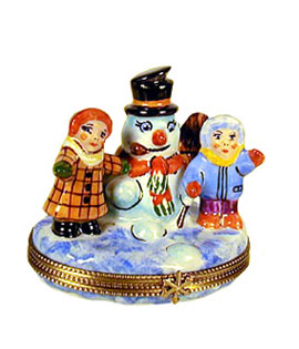 snowman with kids Limoges box