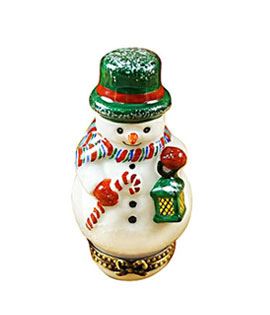 small snowman with lantern Limoges box
