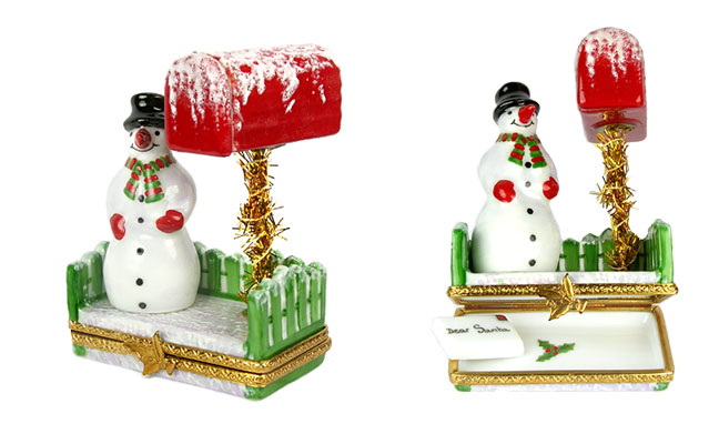 Limoges box lower picture snowman at mailbox with letter