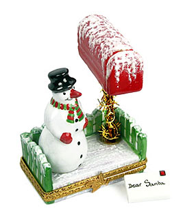 Limoges box snowman at mail box with Christmas letter