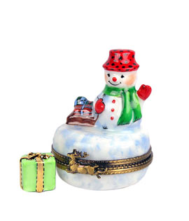 Limoges box mini snowman with gift