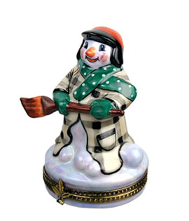 snowman in plaid coat with broom Limoges box