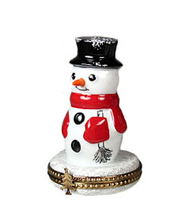 Limoges box happy snowman with scarf