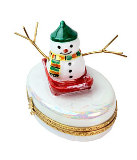 Limoges box happy snowman on sled