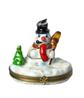 Limoges box snowman by tree